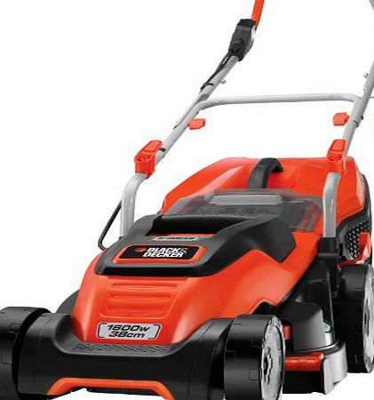 BLACK DECKER Black amp; Decker 1600W Edge-Max Lawn Mower with 38cm Cut Intelli Cable Management and 45L Compact Go Box