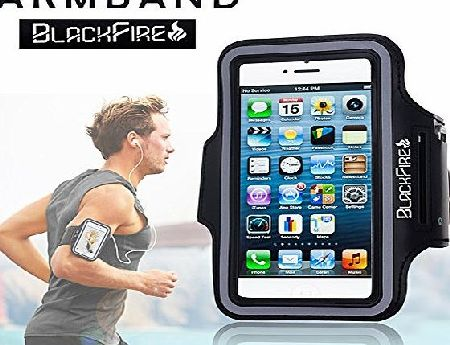 Blackfire  sweatproof and water resistant sports armband for running, hiking, jogging, walking, with key holder for ladies and men, iPhone 6, 6s, iPhone 7 with safety design reflective pouch suitable f