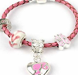 Childrens Little Miss Pink Silver Barbie/Ballet Shoes Pink Leather Pandora Style Charm/Bead Bracelet. Girls Birthday Gift/Stocking Filler 16cm (Other Sizes Available)