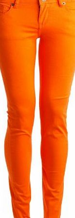 blinQ LADIES SUPER SKINNY STRETCH,STRAIGHT LEG DENIM JEANS AVAILABLE IN DIFFERENT COLOURS AND SIZES (8, Orange)
