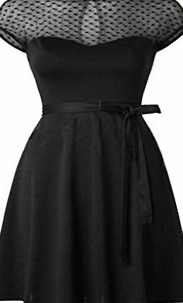 Blooming Jelly Womens Mesh Panel Retro 50s Style Swing Dress UK12=EU40=Asian M Black