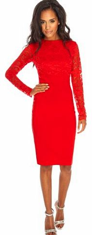 Long Sleeve Lace & Bengaline Fitted Pencil Wiggle Cocktail Party Evening Dress Sz 8-16 (10, Red)