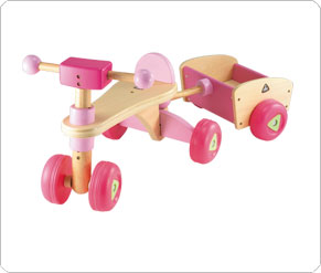 Wooden Trike and Trailer - Pink