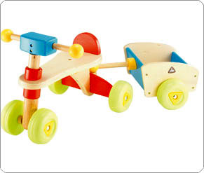Wooden Trike N Trailer - Blue