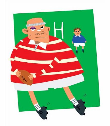 Rugby Tackle - Sporty Fathers Day, Blank, General, Get Well or Birthday Greeting Card