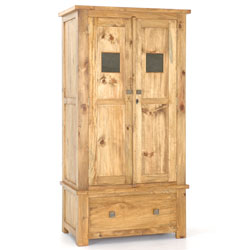 - Breton Pine Brass Panel Wardrobe