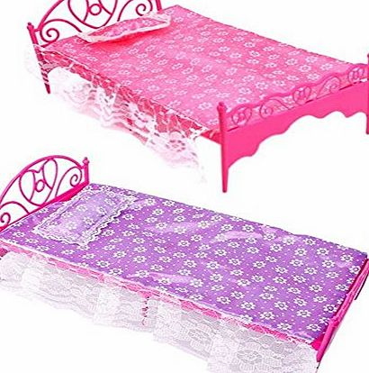 Bluelans 1 x Beautiful Plastic Bedroom Furniture Bed Set for Barbie Dolls Dollhouse (Random Color)