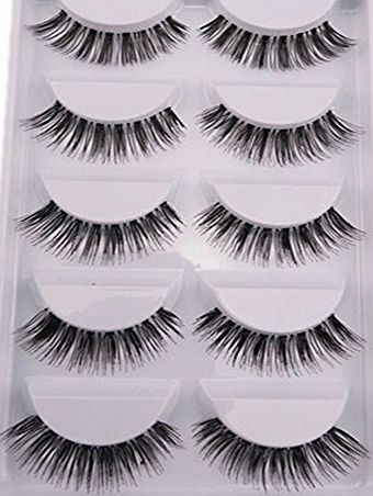 Bluelans 5 Pairs Natural Look Fake Eye Lash False Eyelashes Extension Makeup