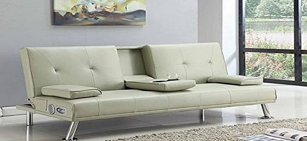 Bluetooth Sofa Bluetooth Cinema Sofa Bed with Drink Cup Holder Table Cream Faux Leather