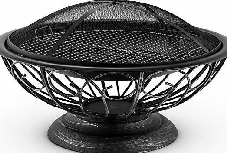 Blumfeldt Tulip Fire Pit 75cm Barbecue Fireplace Spark Protection (Decorative Design, Burnished Steel, Inc. Large 60cm BBQ Grill)