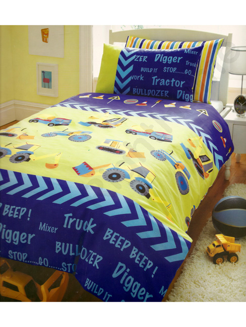 Diggers Single Duvet Cover and Pillowcase Set