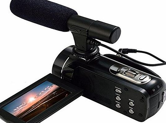BOBLOV  Ordro HDV-Z20 Full HD 1080P @30FPS 24MP 16X Zoom Digital Video Camera with External MIC- Digital Camcorder with Professional Camera Mounted Shotgun Boom Microphone
