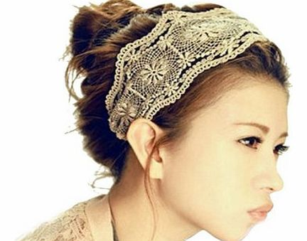 Bocideal New Arrivial Women Lace Headband Retro Hair Band Wide Headwraps Hair Accessories (Black)
