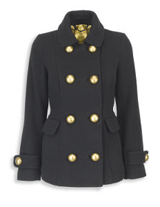 Brass Button Twill Coat