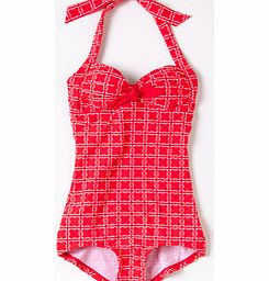 Tie Front Swimsuit, Hibiscus Flower Grid,Mariner
