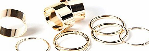 BODYA 9pcs Metal Wrap Cut Above Knuckle Stack Urban Gold Plain Finger band Midi Rings Set