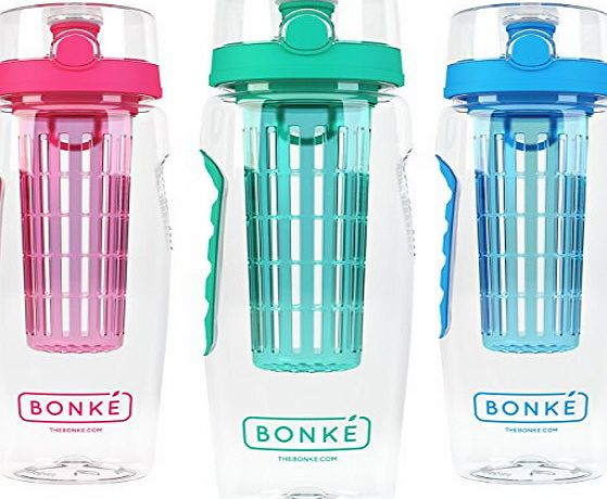 Bonke Fruit Infuser Water Bottle - Free Infused Water Ebook and Cleaning Brush - 3-in-1 - Large 32 Oz - BPA Free Plastic amp; Eco Friendly Rubber Grip with Extra Safe Locking System Prevents Spills