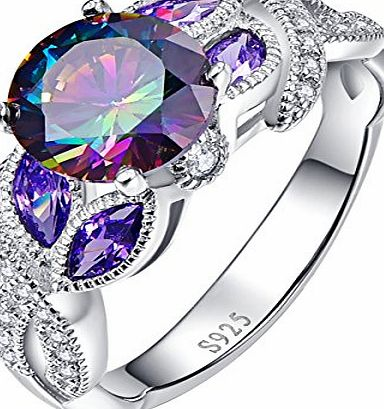 Bonlavie Infinity Twisted Round Rainbow Topaz Sapphire Marquise Engagement Rings for Women Size L 1/2