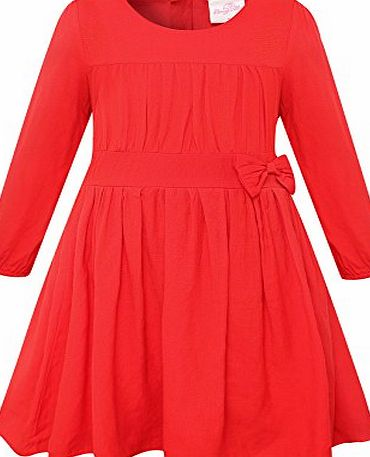 Bonny Billy Girls Long Sleeve Solid Pleated A-Line Children Dress with Bow 8-9 Years Red