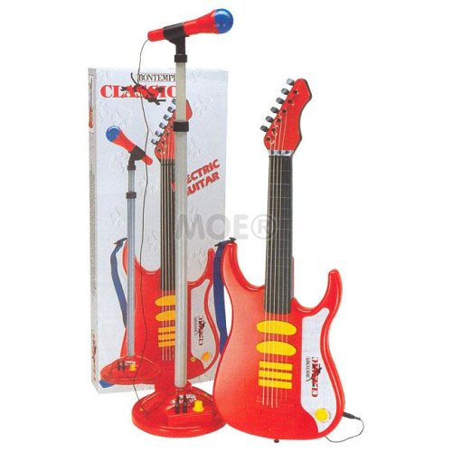 Electric Guitar with Amplifier and Microphone