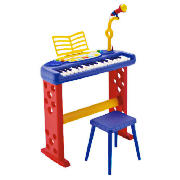 Keyboard with Legs, Stool & Microphone