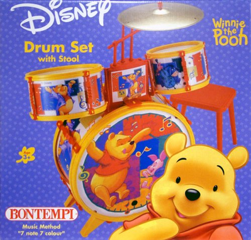 Winnie The Pooh 4 piece Drum Set with Stool