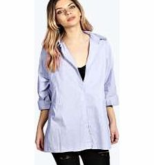 Aleena Oversized Fine Stripe Cotton Shirt - blue