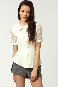 Claudia All Over Lace Peplum Blouse Female