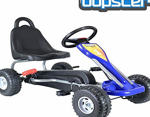 Bopster  Blue Pedal Go Kart with Hand Brake and Adjustable Seat
