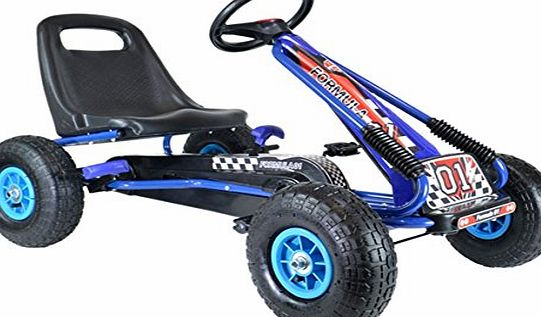 Bopster Pedal Go Kart Inflatable Wheels Blue Black GoKart Racing Boys Outdoor