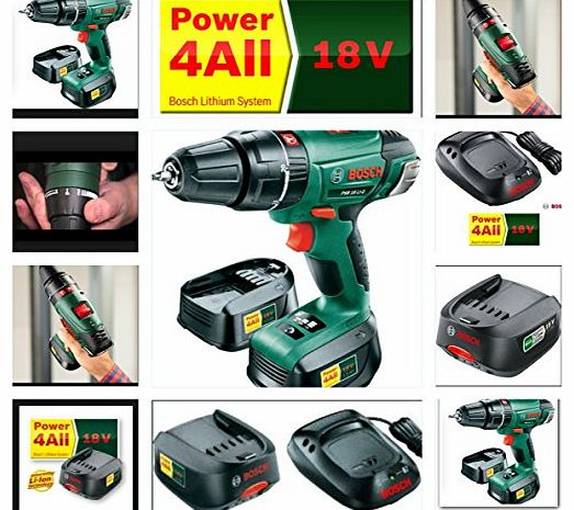18V CORDLESS COMBI HAMMER DRILL PSB1800 LI2 LATEST MODEL REPLACING OLDER VERSION PSB18 LI2 COMPLETE KIT WITH 2 LI-ION BATTERIES, FAST CHARGER AND CARRY CASE + 121 MIXED DRILL & SCREW DRIVER