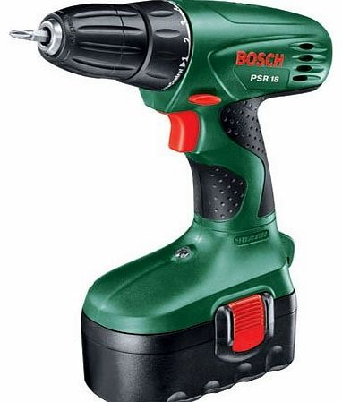 18v CORDLESS DRILL DRIVER PSR18 (BODY ONLY) WITHOUT BATTERY AND CHARGER , IN BOSCH CARRYING CASE
