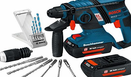 Bosch GBH36VECMD Compact Brushless 36V Li-ion SDS Plus Rotary Hammer Drill (2 x 2Ah Batteries) with Accessories