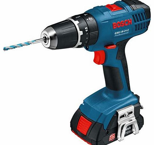 Professional GSB18-2-LI 18V Cordless Combi Drill with 2 x 1.3Ah Batteries in L-Boxx