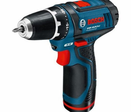 Professional GSR10.8-2-LI 10.8V Cordless Li-Ion Drill Driver with Keyless Chuck in L-Boxx with 2 x Batteries