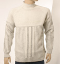 Mens Boss Cream High Neck Ribbed Design Wool Mix Sweater
