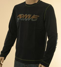 Mens Boss Navy with Groove Design Long Sleeve Cotton T-Shirt - Orange Label