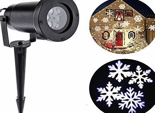BOSSJOY Projector Light Moving White Snowflakes Spotlight Lamp, Sparkling Landscape Projection LED Lights Waterproof Indoor Outdoor for Christmas Holiday Garden Home Wall Decoration