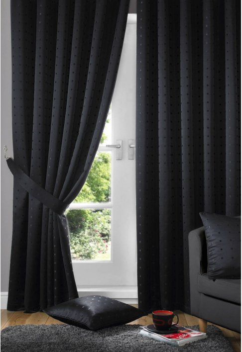 Black - Tape Heading - Lined Curtains