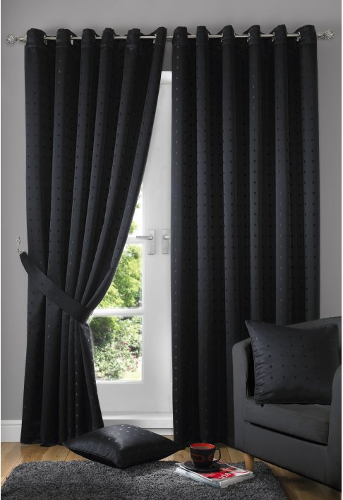 Black Eyelet Lined Curtains