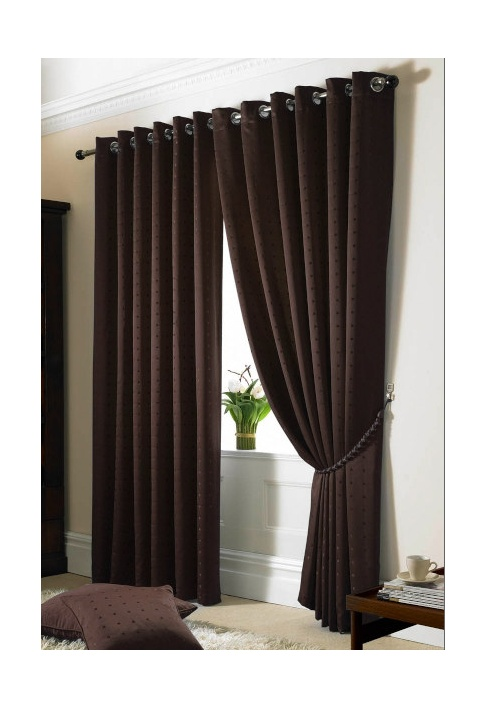 Chocolate Eyelet Lined Curtains