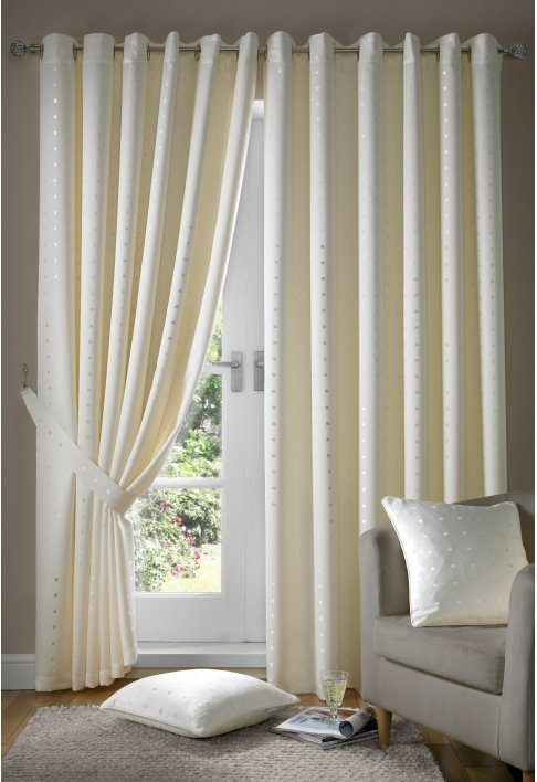 Cream Eyelet Lined Curtains