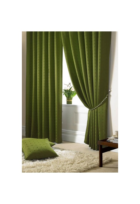 Green - Tape Heading - Lined Curtains