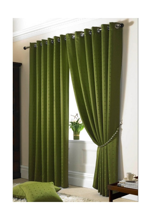 Green Eyelet Lined Curtains