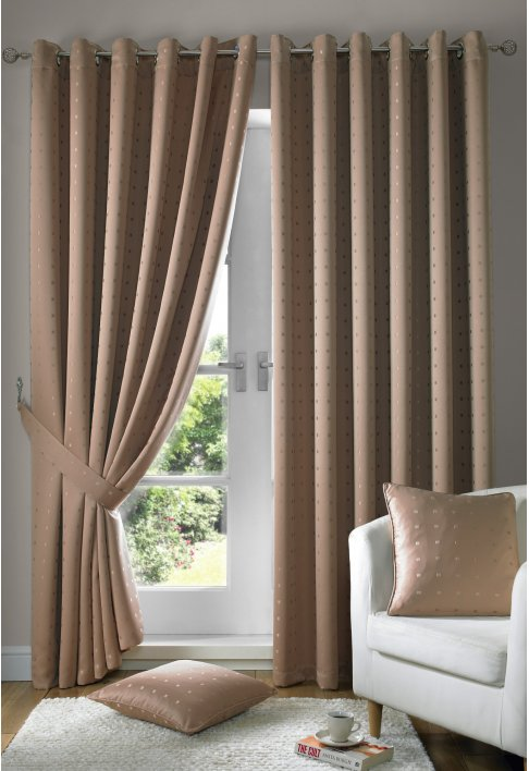 Latte Eyelet Lined Curtains