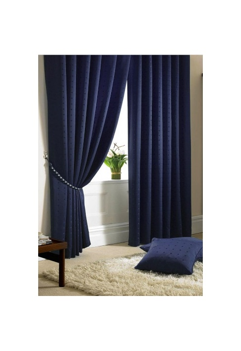 Navy - Tape Heading - Lined Curtains