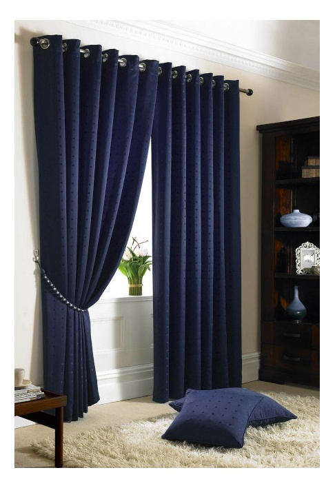 Navy Eyelet Lined Curtains