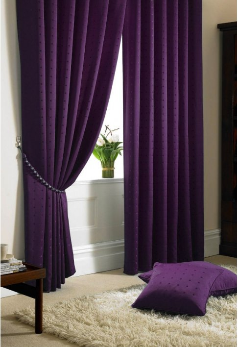 Purple - Tape Heading - Lined Curtains