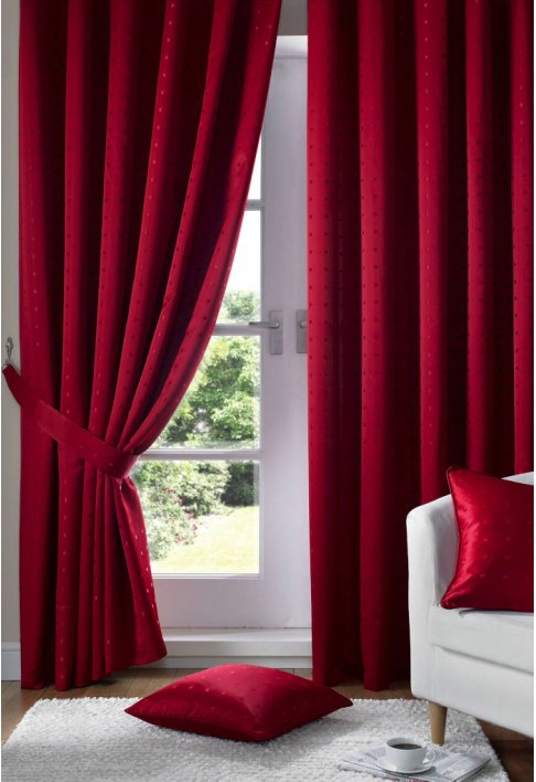 Red - Tape Heading - Lined Curtains
