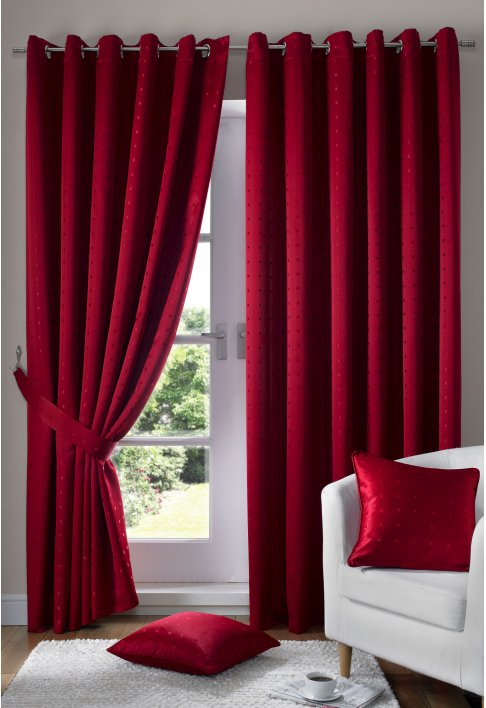 Red Eyelet Lined Curtains